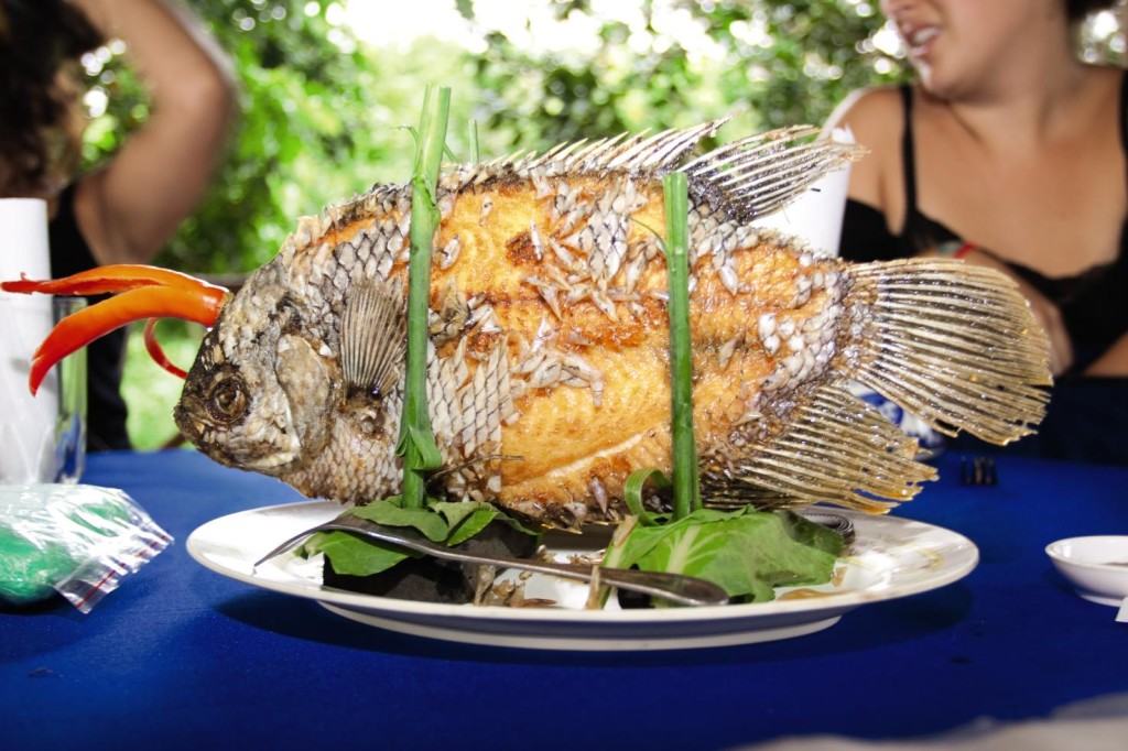 Deep fried fish with scales