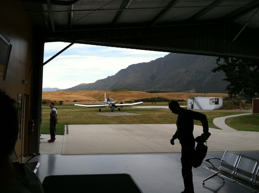 Skydive center stretching