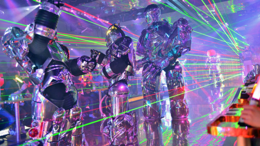 image of robots at the robot restaurant in Japan