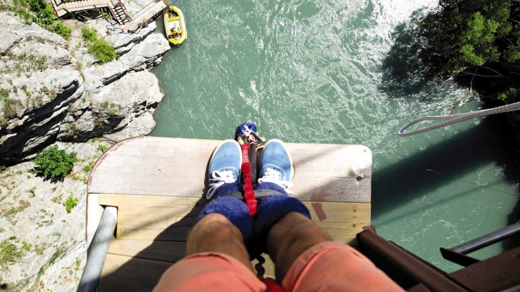 Adventures in Europe - image looking down on feet about to bungee jump