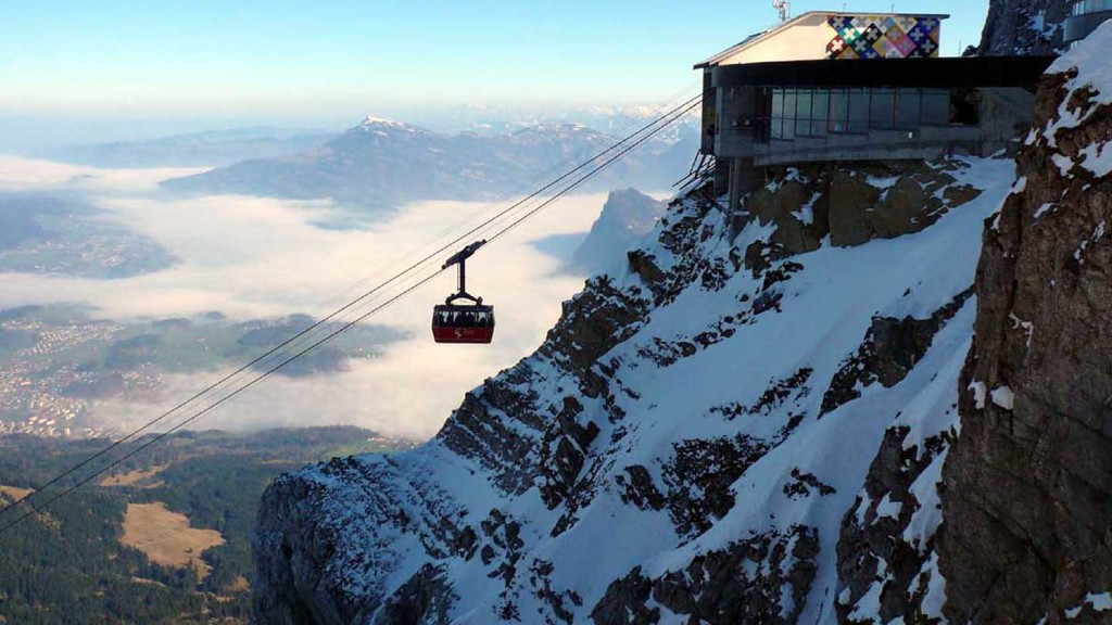 Adventures in Europe - image of a cable car going up Mt Pilatus