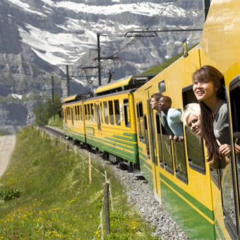 Adventures in Europe - image of travellers in a train in Austria
