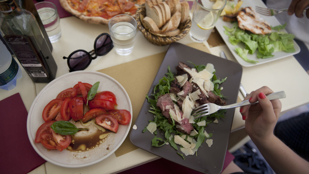 aerial shot over a variety of Italian food