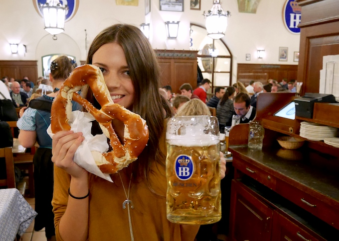 Image of Emma Lucey in a bier haus in Germany