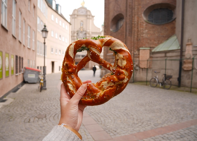 Image of Pretzel in Germany with Emma Lucey