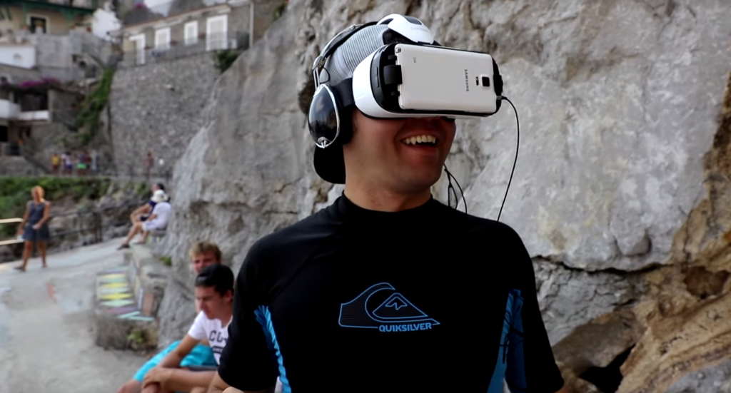 Image of Devin Supertramp trying virtual reality