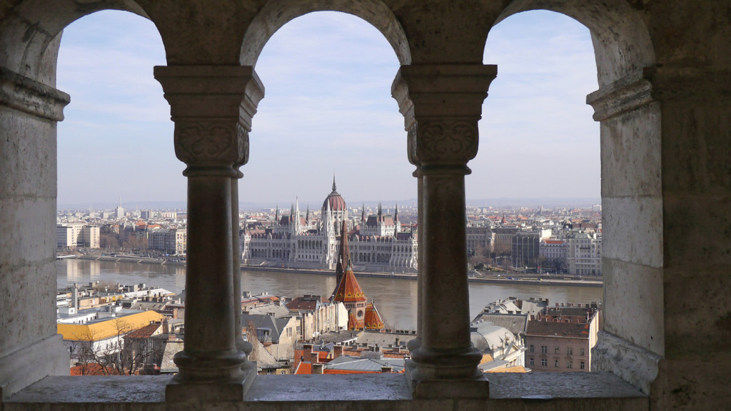 trip to Budapest - image looking out from Fisherman's Wharf
