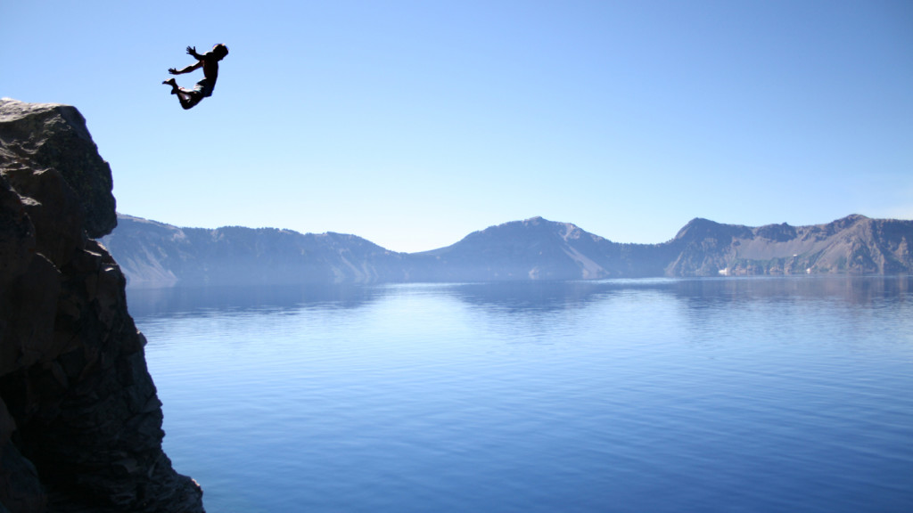 cliff diving - Crater Lake
