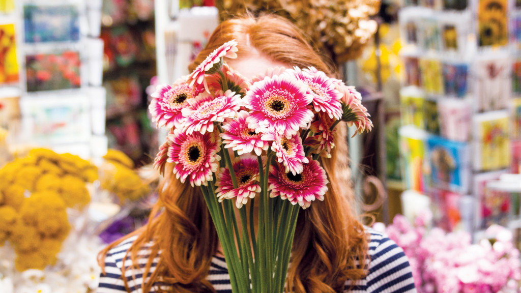 FML - girl with flowers over face