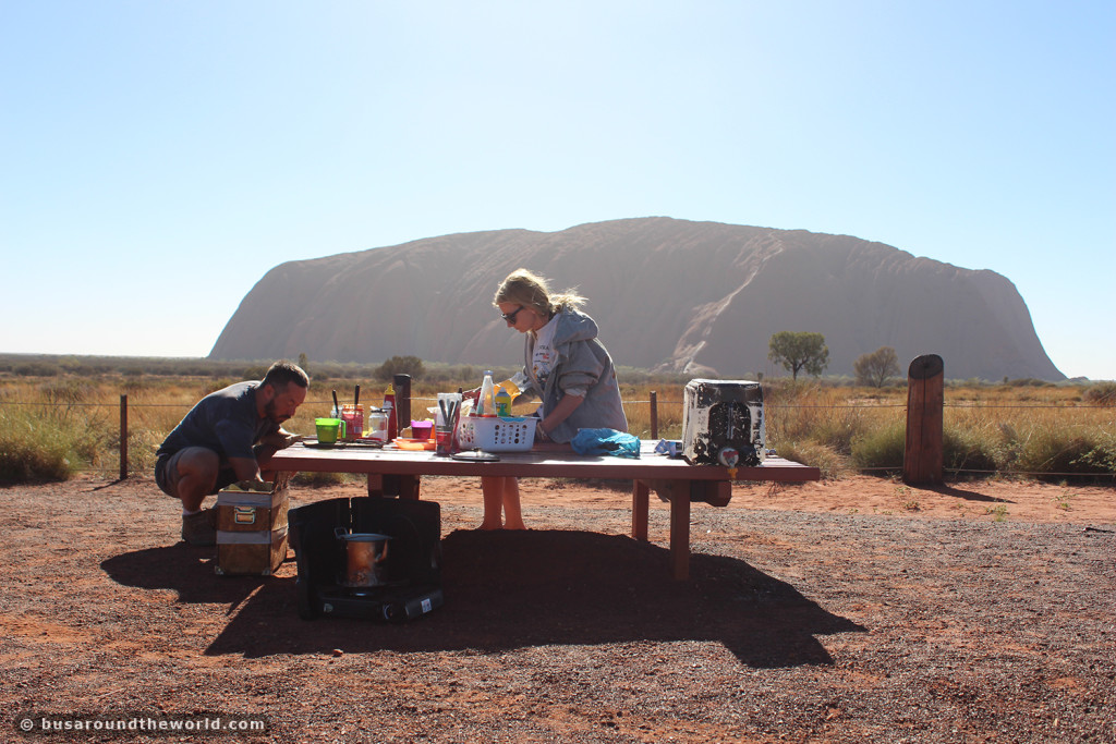 Around the world on a bus - eating in front of Uluru