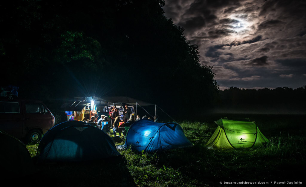 Around the world on a bus - camping at night