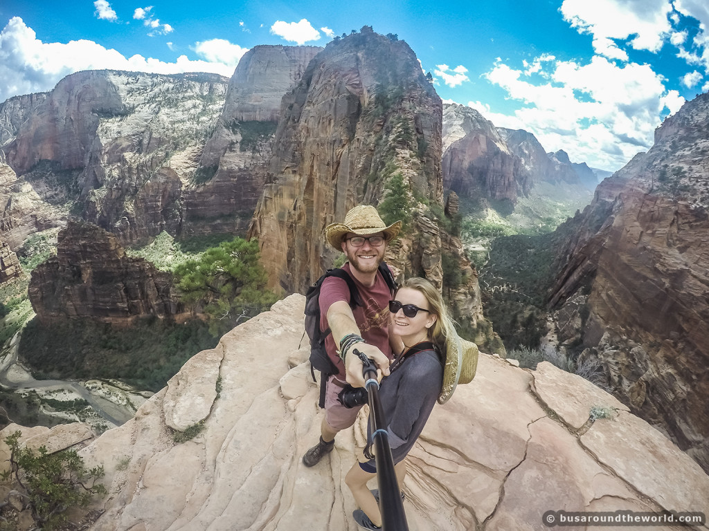 Around the world on a bus - Couple travel by bus to Zion