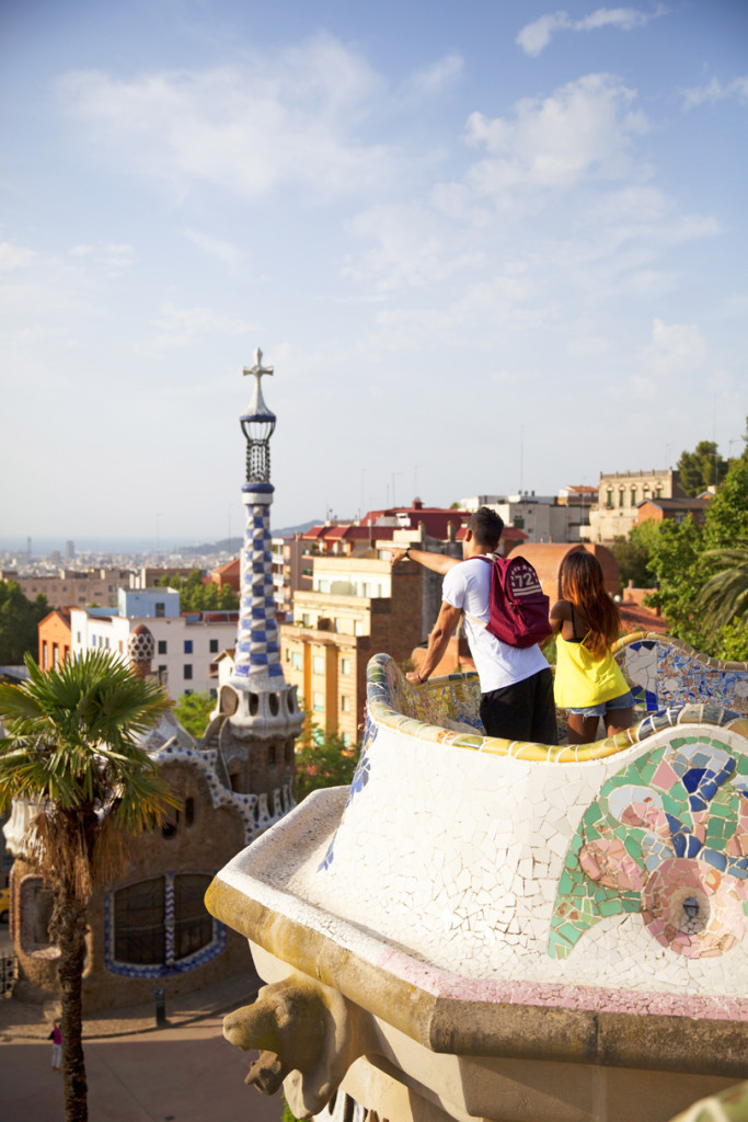 broken heart - group in parc guell looking out at barcelona city