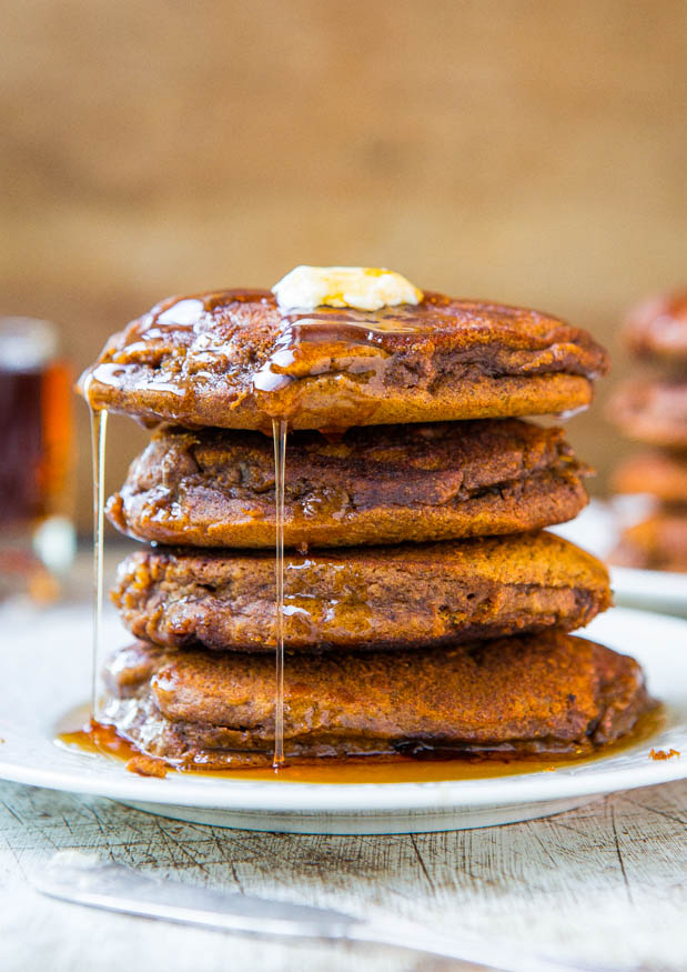 pancake day - Gingerbread pancakes with ginger molasses maple syrup
