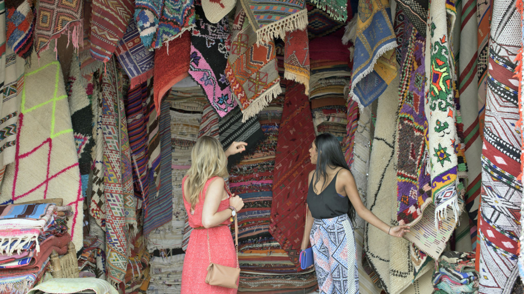 trip to europe - girls in a market in morocco
