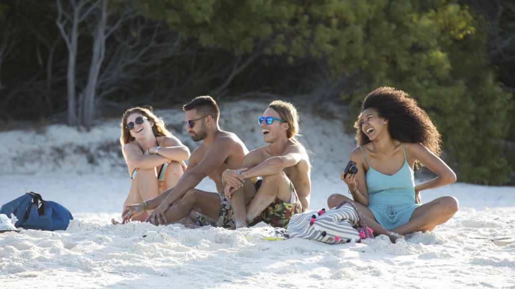 Group on beach in OZ