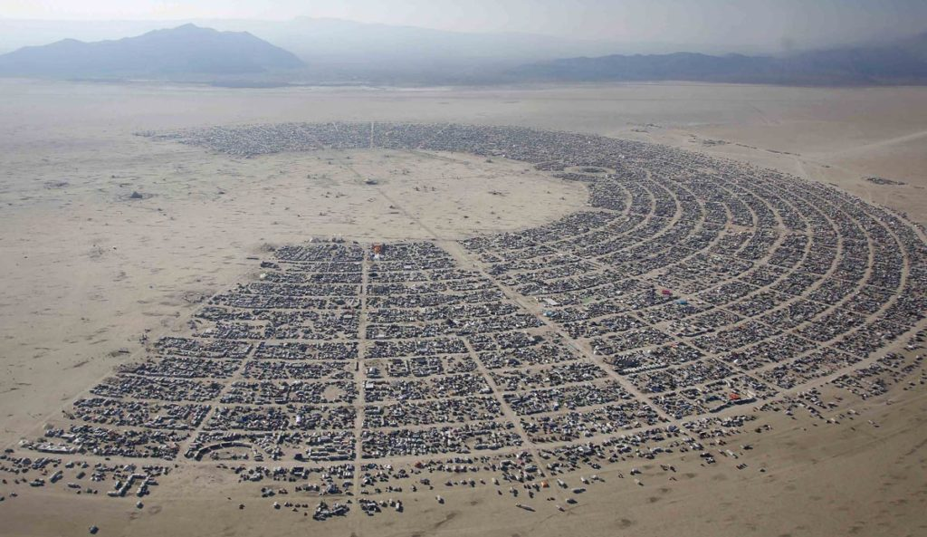 An aerial view of the Burning Man