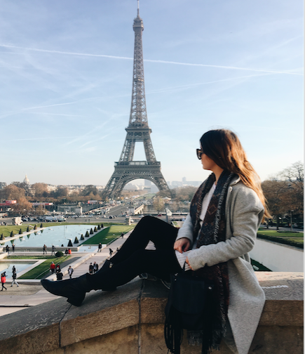 Jade Hill in front of Eiffel Tower
