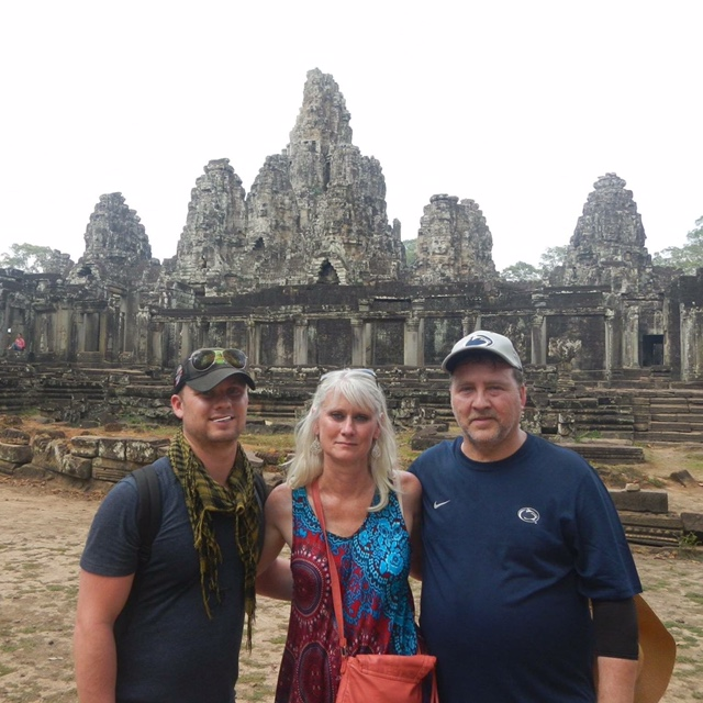 Walt with his parents in cambodia