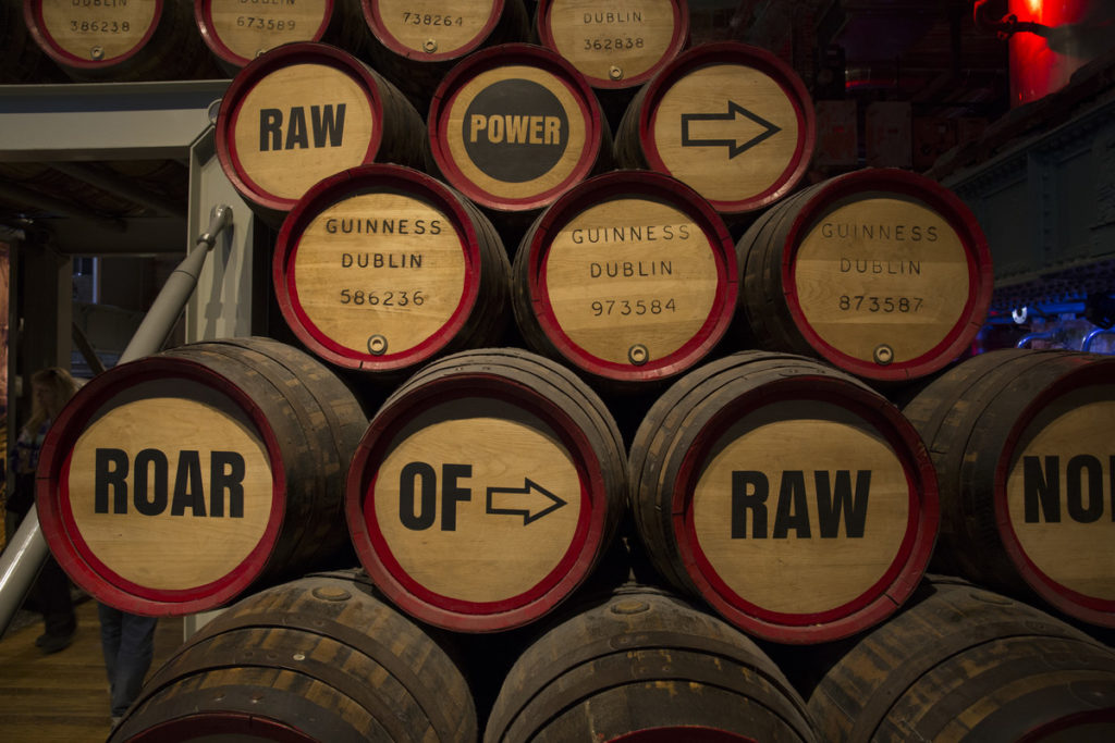 barrels at the Guinness factory in Dublin
