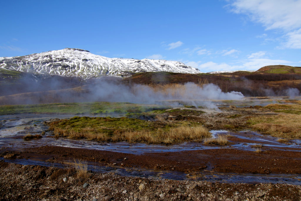 image of a smoking geiser in Iceland
