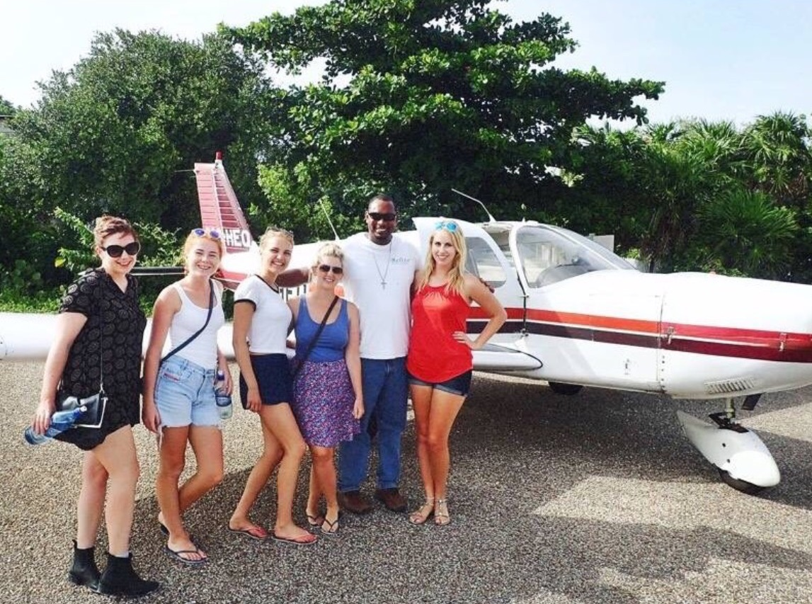 Friends and seaplane