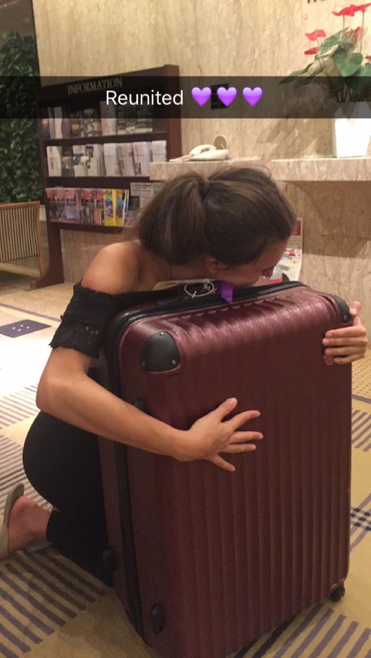 Bronte Barratt with luggage