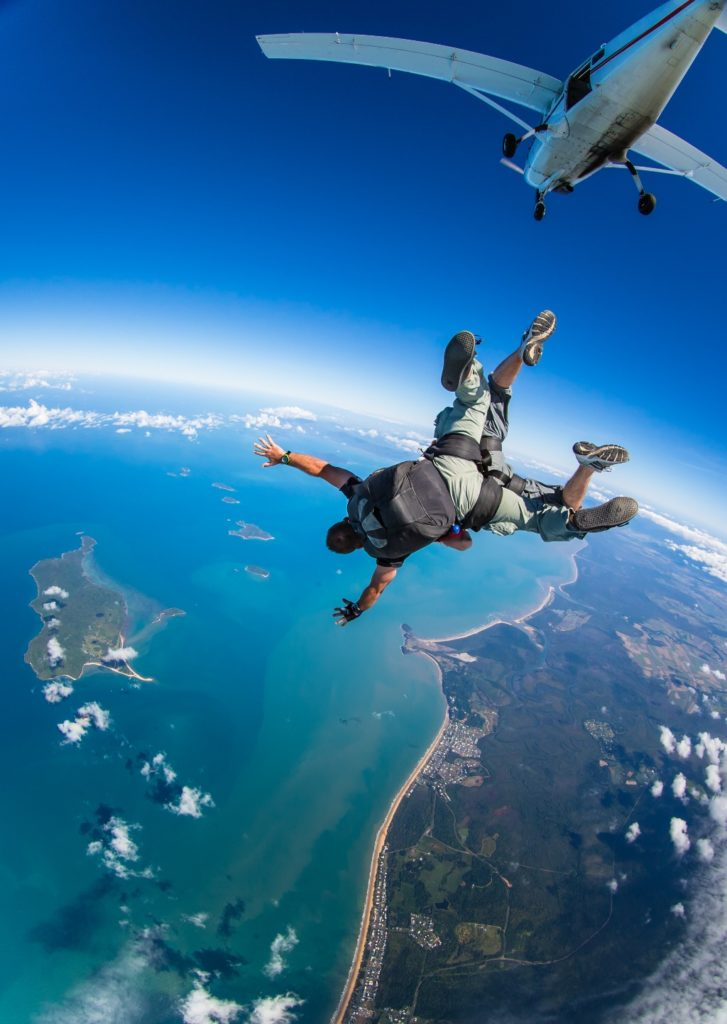 skydiving over the barrier reef