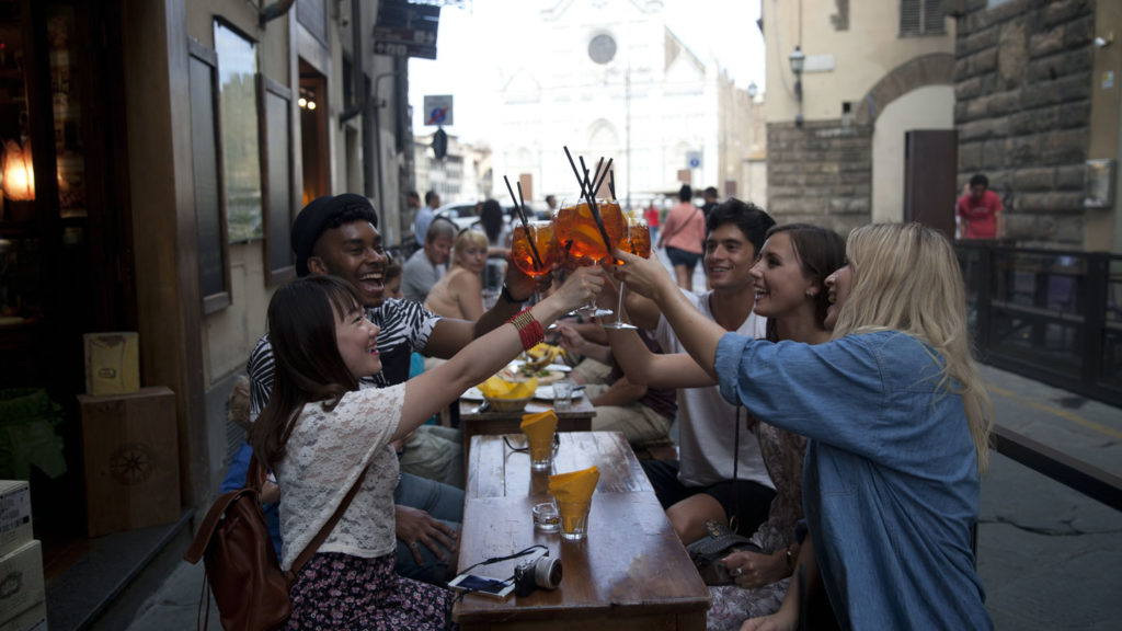 Group drinking in Florence