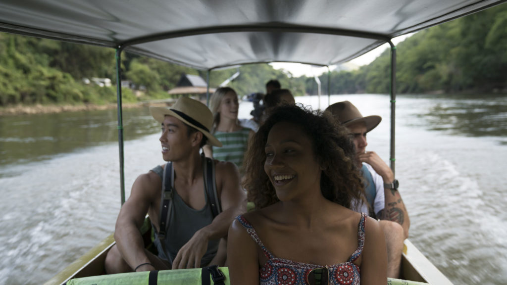group on a boat in thailand