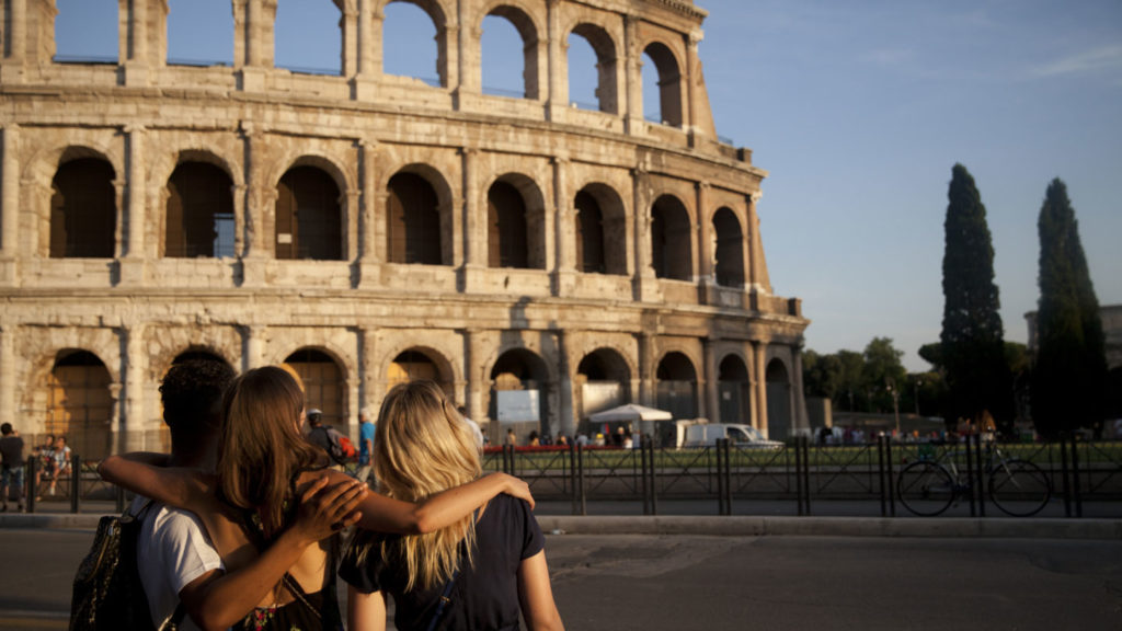 looking at the Colosseum in Rome, Italy