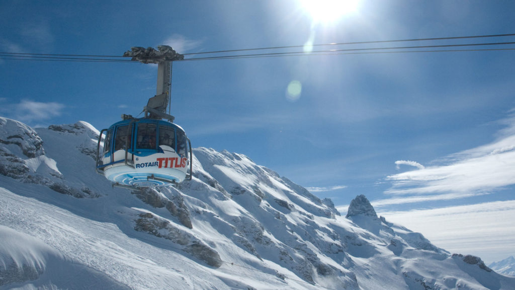 cable car in the snowy swiss alps