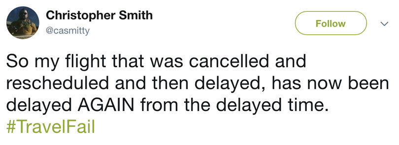 twitter comment on holiday fail