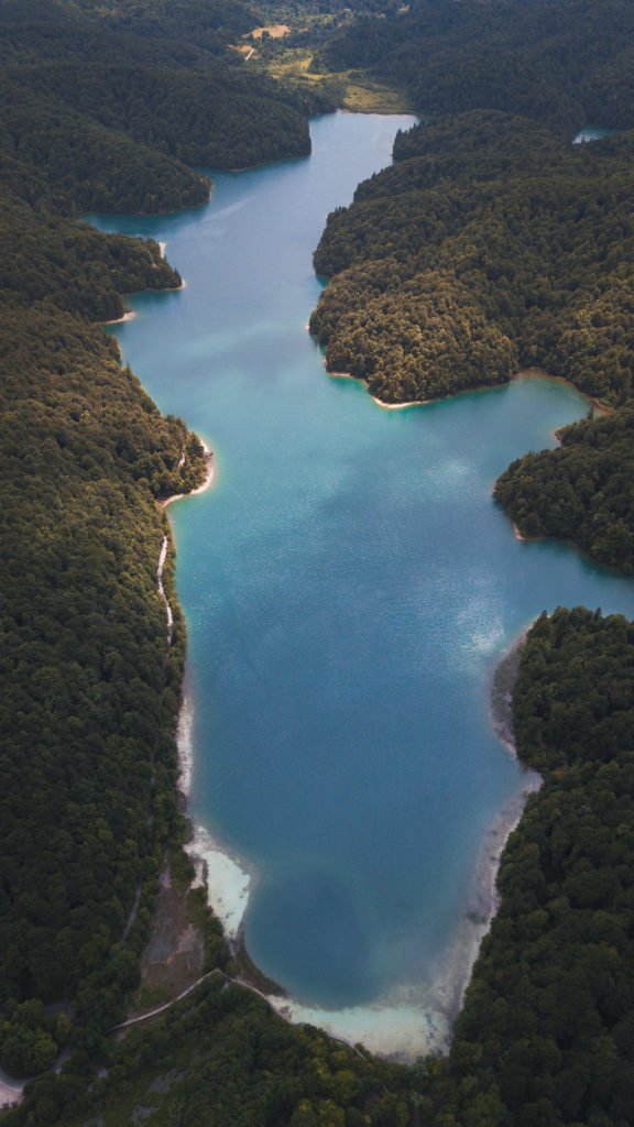 plitvice lakes shot with a drone, photographed by Earth Focus