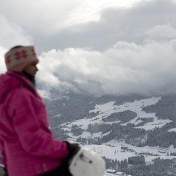 girl looking at mountains on Contiki