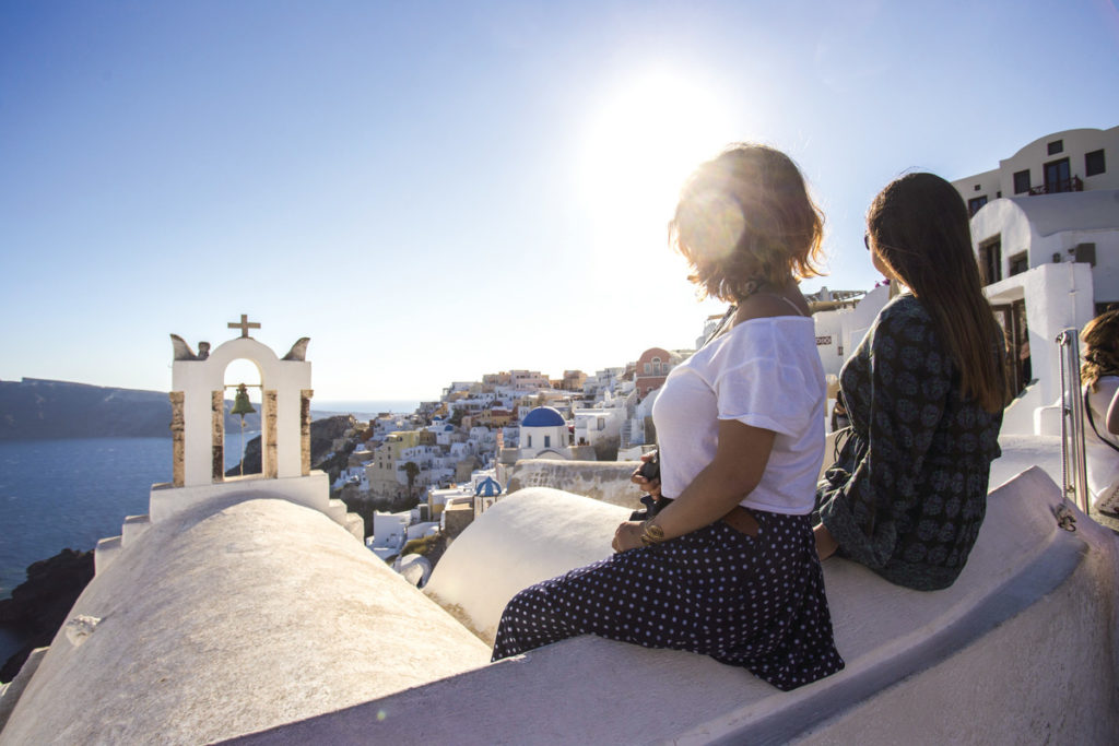 Girls in Santorini, Greece