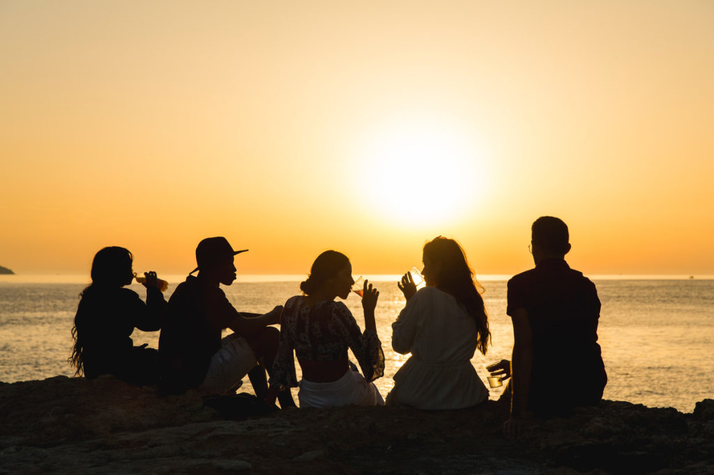 Ibiza sunset drinks with friends