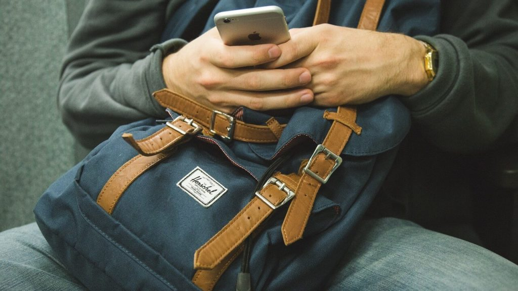 backpack with phone
