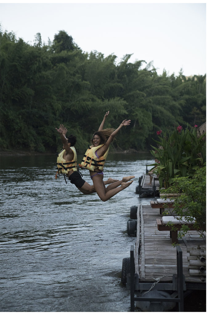 jumping into river kwai in thailand