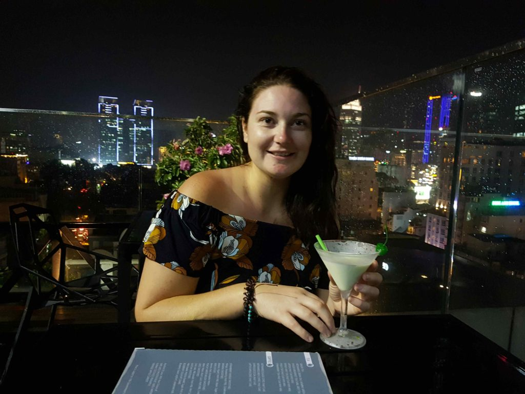 Girl with cocktail in Asia