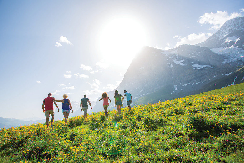 group walking in Austrian Alps