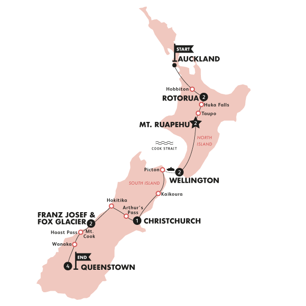 Kiwiana Panorama (Auckland to Queenstown Winter)(Multi Share,Start Auckland, End Queenstown) Map