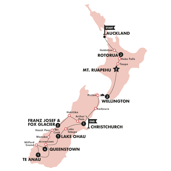 Kiwiana Panorama (Auckland to Christchurch Winter)(Multi Share,Start Auckland, End Christchurch) Map
