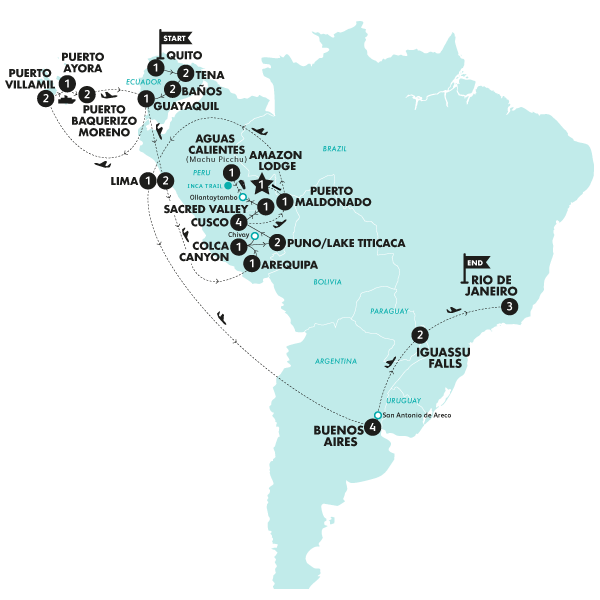 The Latin Quest (From Feb 2020)(With Inca Trail Trek,Start Quito, End Rio de Janeiro) Map
