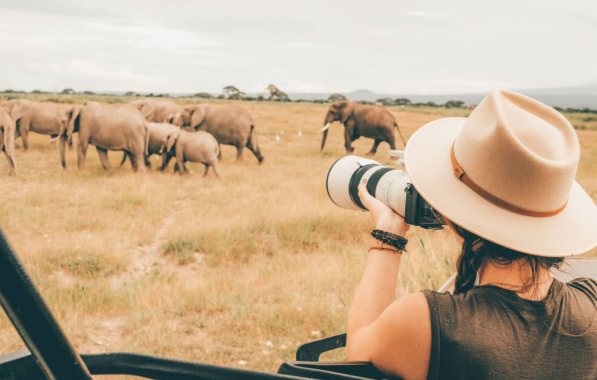 young women photographing elephants from afar on safari